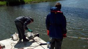 Prélèvement au Peat Sampler dans le canal du Centre