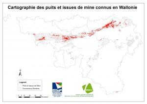 Cartographie des positions des puits de mine connus en Wallonie (source SPW-DGO3)